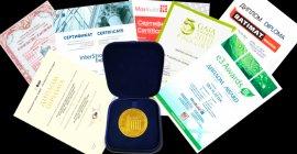 Сертифікати та нагороди Silk Plasters